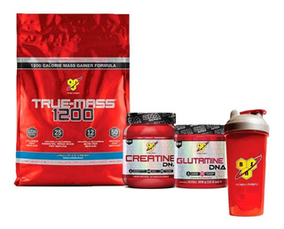 Bsn True Mass 10lb + Creatina Dna + Glutamina Dna + Vaso