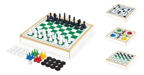 Jogo Tabuleiro 4 Em 1 Xadrez Damas Trilha Ludo Brinquedo 718