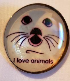 Animais, Eu Amo, Botton Inglês, Aço E Acrílico ,p Roupa