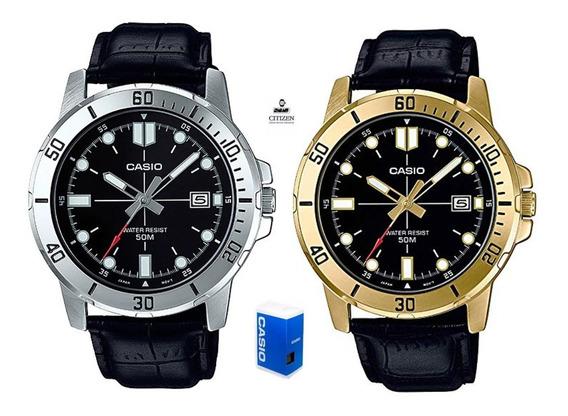 Reloj Casio Mtpvd01 1e Hombre Correa Negra Full