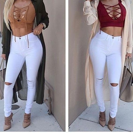 Calça Jeans Feminina Rasgada Skinny Cintura Alta Com Lycra