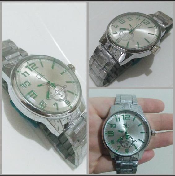 Relógio Ck Prata Com Detalhes Verdes. Nunca Foi Usado