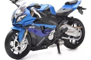 Moto Diecast Bmw S1000rr Azul Miniatura Coleção 1:12 Origina