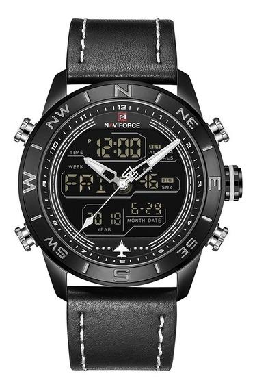 Relógio Naviforce Nf9144 Esportivo Militar Pulseira Couro