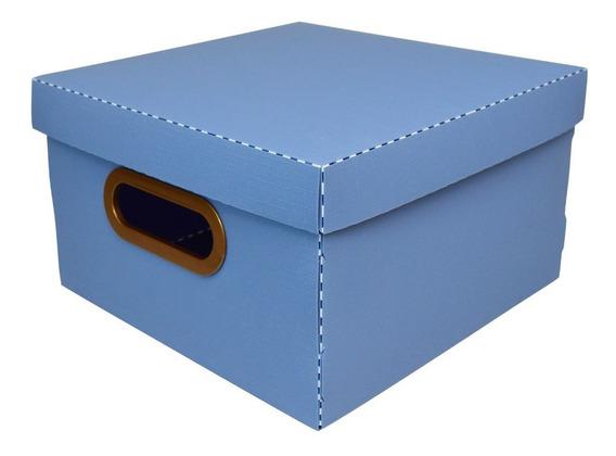 Caixa Organizadora Linho Grande 35x35x16cm Azul