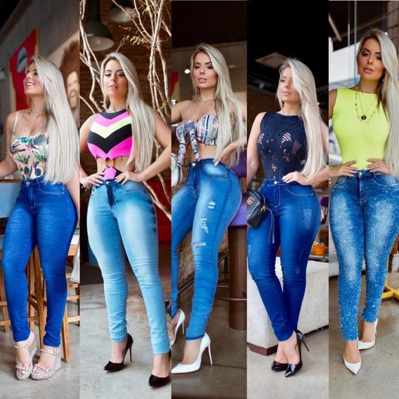 Calças Jeans Feminina Cintura Alta Hot Pants Levanta Bumbum