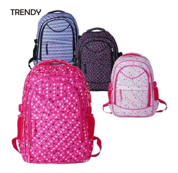 Mochila Urbana Escolar Trendy 8210 Mujer Con Bolsillos