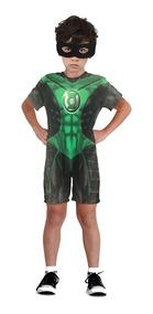 Fantasia Infantil Lanterna Verde + Mascara Anel 1 A 10 Anos