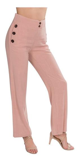 Pantalon Dama Moda Ancho Lino Botones Palo Rosa W91125