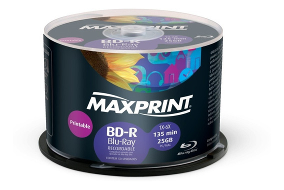 50 Blu Ray Maxprint 25gb Printable Pino Lacrado