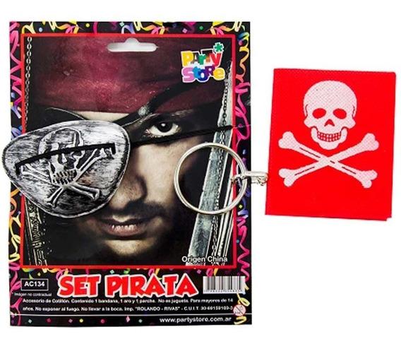 Combo Pirata Bandana+parche+aro Disfraz Halloween Egresado
