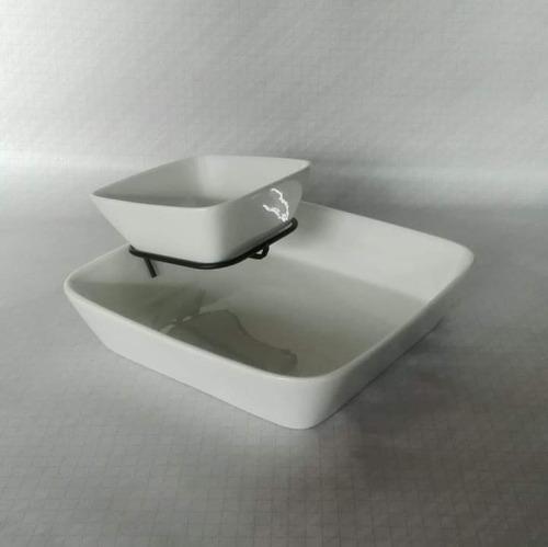 Boquitero De Porcelana 3 Piezas; 2 Tazones Y Rack.nueva. Ma