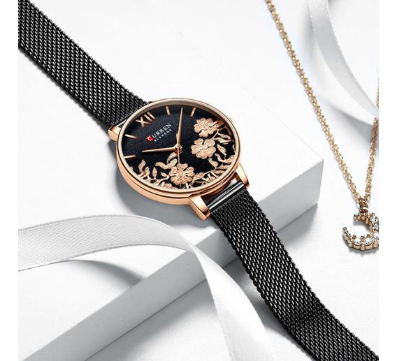 Relógio Curren Elegante Feminino Quartzo Dourado