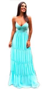 Vestido Longo Festa Formatura Madrinha Casamento Azul Tifany