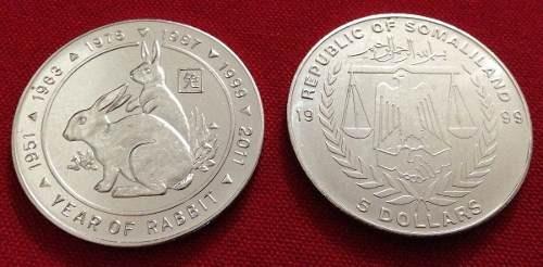 Moneda Horoscopo Chino Conejo - Somalilandia 5 Dolares X# 3