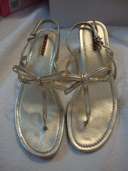 Sandália Prada Dourada Tam 39 Ou 26cm