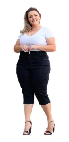 Imagem 1 de 3 de Calça Jeans C/ Lycra Capri Feminina Plus Size