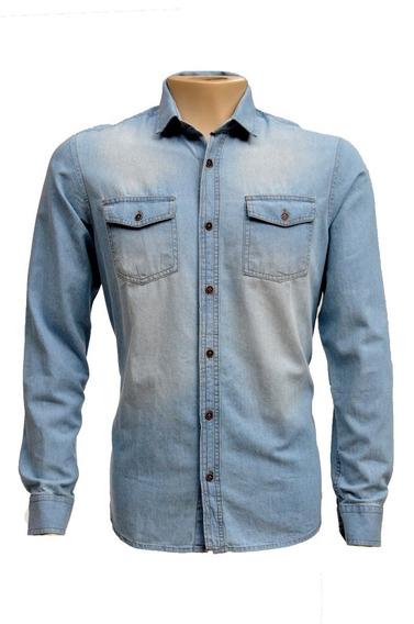 Camisa Jeans Claro Jeans Lavado Masculino Manga Longa 6007