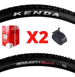 Combo 2 Cubiertas Bicicleta 26 X 1,95 Kenda 50-fifty Camaras
