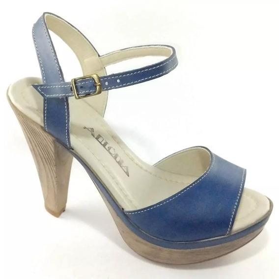 Sandália Em Couro Azul Salto Imita Madeira