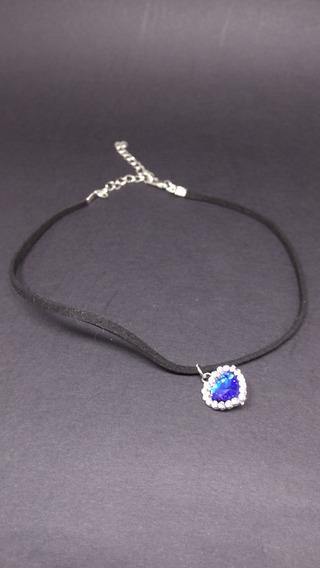 Colar Feminino Coração Cristal Azul Safira Zircônias C415