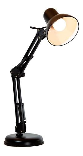 Imagen 1 de 10 de Lámpara Escritorio Flexible Ajustable Negro E27 40w 1 Luz