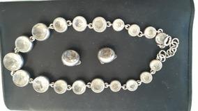 Colar E Brinco Em Prata 925 Com Cristais Em 12 X S/juros