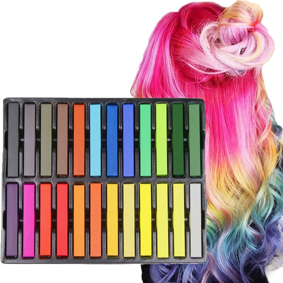 Tizas Para Teñir Cabello Colores Color Temporal Set 24 Rumba