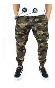 Calças Jogger Jeans Masculina Com Elástico Camuflada Moda