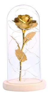 Hermosa Rosa Eterna Luz Led,lámina De Oro Rosa
