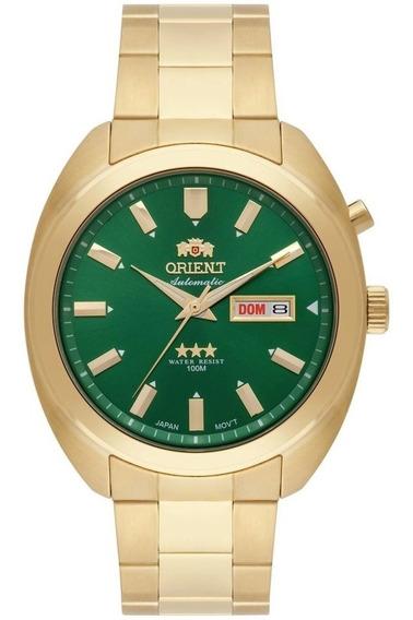 Relógio Orient Dourado Com Fundo Verde Automático Masculino