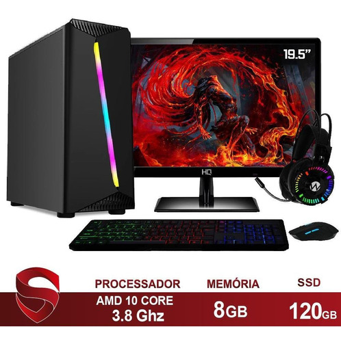 Imagem 1 de 4 de Pc Gamer + Kit Amd A8 8gb Ssd 120gb  Skill Monitor 19 Casual