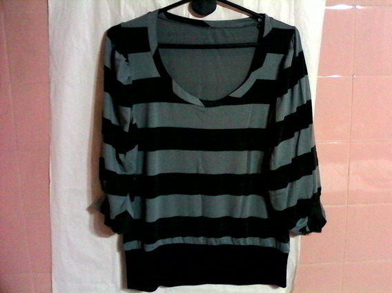 Remeron Gris Acero Y Negro A Rayas- Mangas 3/4-cassuals.