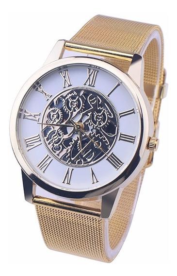 Relógio De Pulso Dourado Números Romanos Mecanismo 24cm
