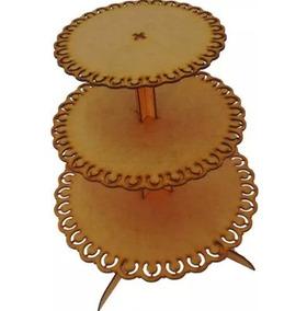 3 Unid - Porta Cup Cake Torre Em Mdf Crú De 3mm Festa