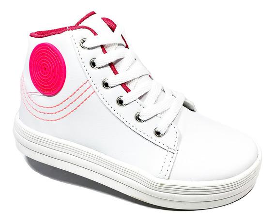 Tênis Infantil Cano Alto Led Grugui Costuras - Branco E Pink