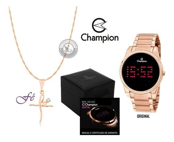 Relógio Champion Aço Rose Com Led Digital Original + Colar
