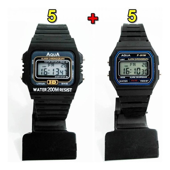 Kit Com 5 Relógios Aqua Aq 37 + 5 Aqua F 91w Atacado!!!
