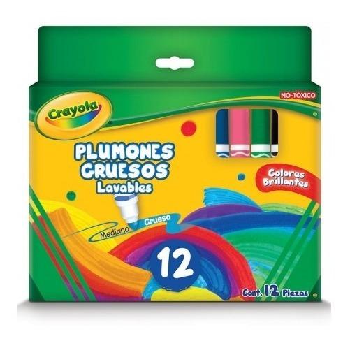 Plumones Grueso Lavables Crayola Caja Con 12 Pzas