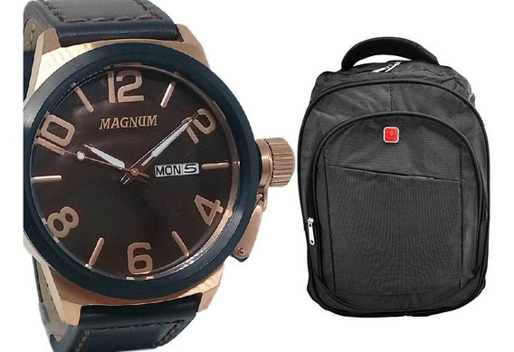 Relógio Magnum Masculino Analógico Militar + Mochila Cinza