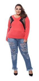 Blusa De Frio Tricot Plus Size Casaco Feminino Inverno 44/52