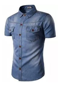 Camisa Jeans Manga Curta Masculina Premium Dois Bolsos Frent
