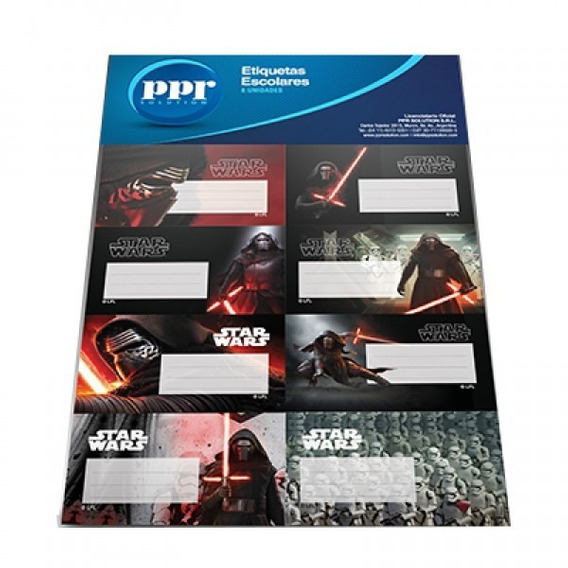 Star Wars 16 Etiquetas Escolares Licencia Oficial V. Crespo