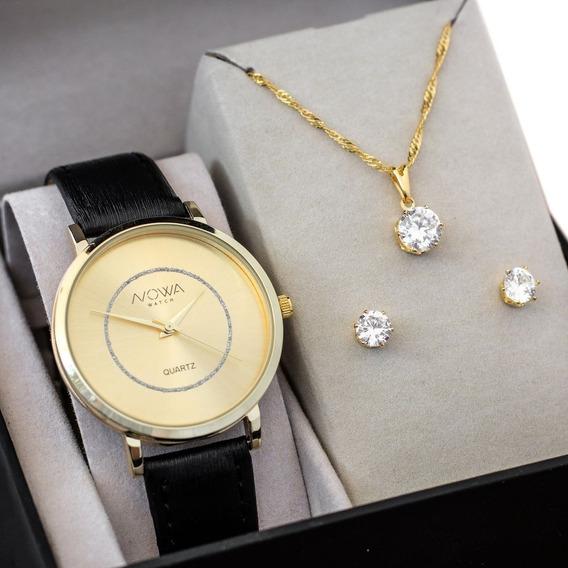 Relógio Feminino Nowa Preto Dourado Nw1409k Com Kit Colar E Brinco
