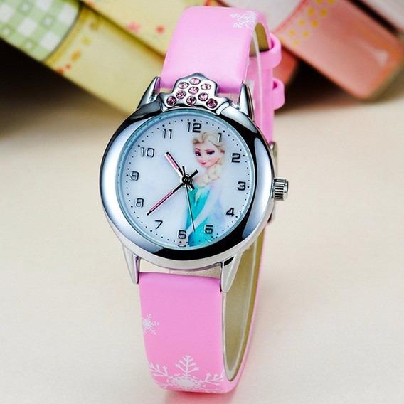 Relógio Frozen Elza Infantil Pulseira Rosa Promoção!!!