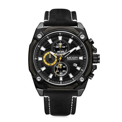 Relógio Megir Racing 2054 Amarelo - Pulseira Couro