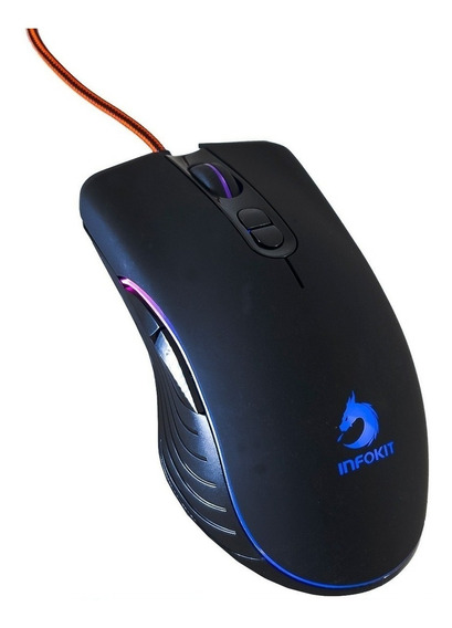 Mouse Gamer Usb Com Led Rgb Soldado Gm-v550 6400 Dpi Infokit Jogos Games
