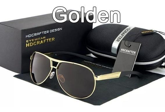 Óculos De Sol Aviador Polarizado Uv400 Hdcrafter Gold §