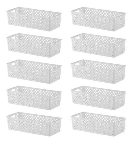 10 Cestos Branco Para Organizar Dispensa 34x15x9cm 890