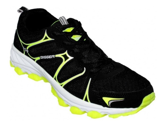 Tenis Para Correr Hombre Textil Negro Amarillo Neon Marca Bi